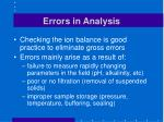 errors in analysis