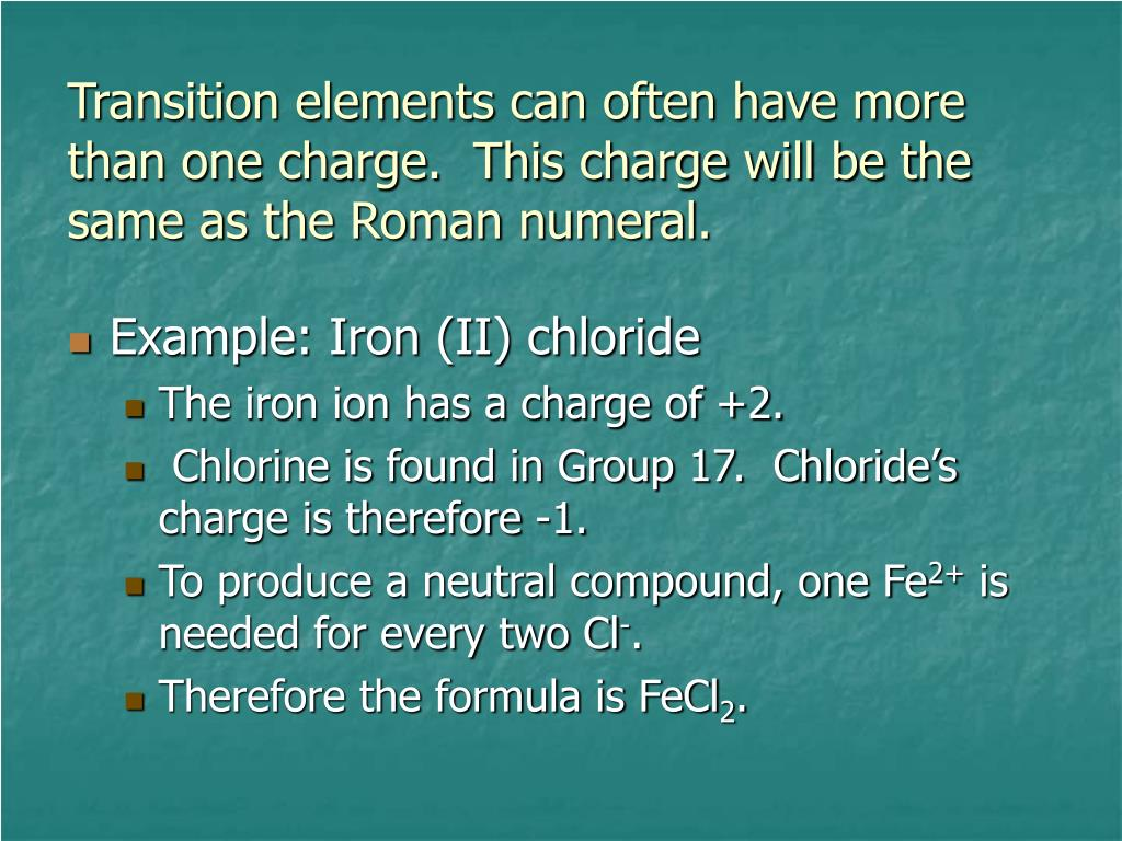 Transition elements can often have more than one charge.  This charge will be the same as the Roman numeral.