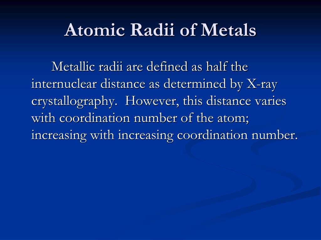 Atomic Radii of Metals