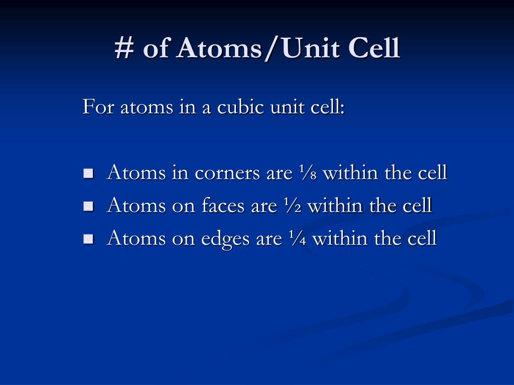 # of Atoms/Unit Cell
