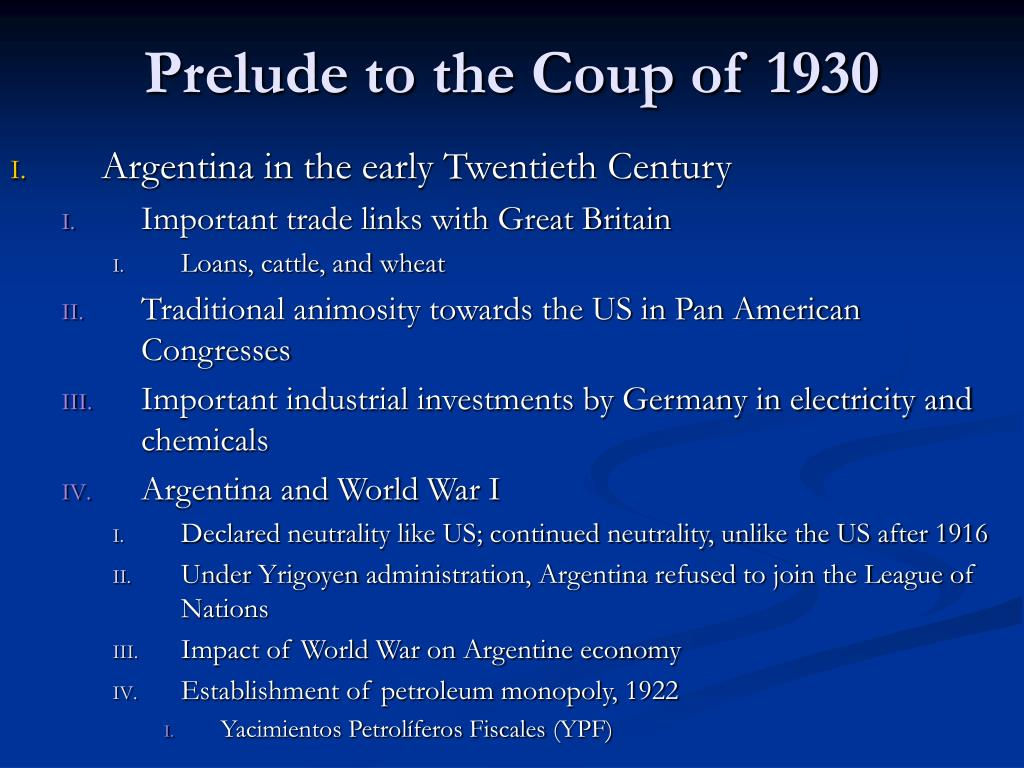 Prelude to the Coup of 1930