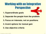 working with an integrative perspective