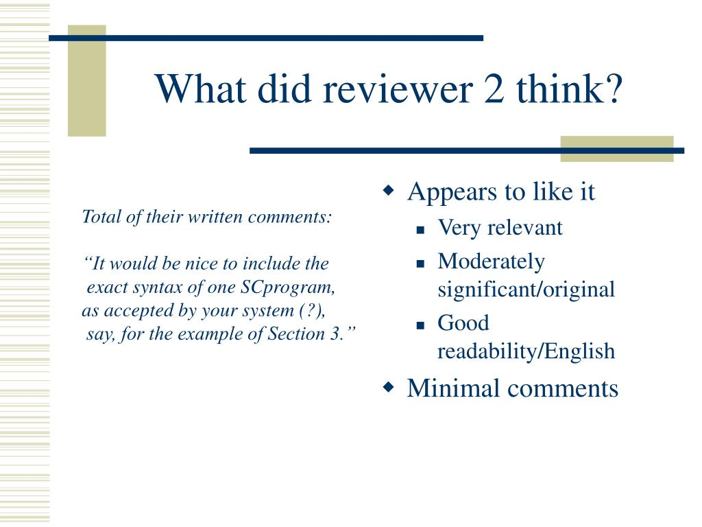 What did reviewer 2 think?