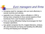 euro managers and firms