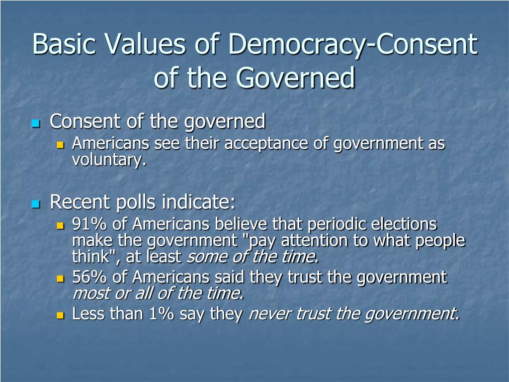 Basic Values of Democracy-Consent of the Governed