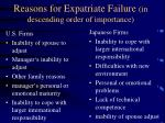 reasons for expatriate failure in descending order of importance