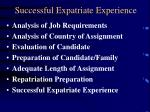 successful expatriate experience