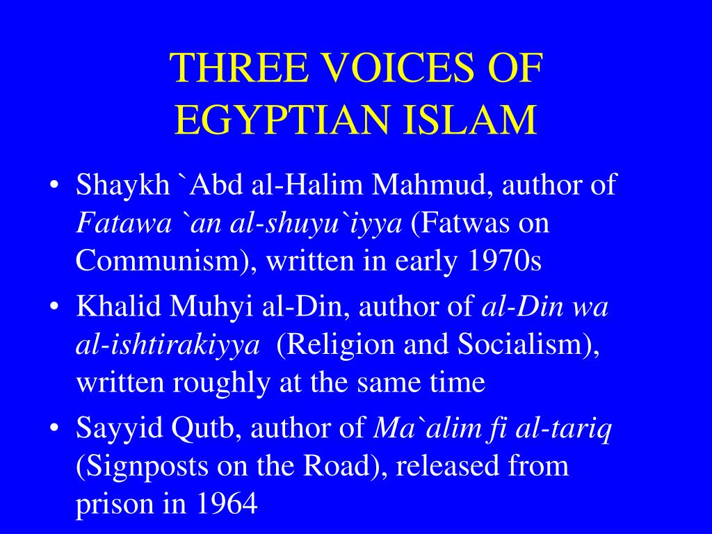 three voices of egyptian islam l.