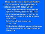 three fold focus of spiritual warfare