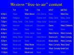 western free to air content