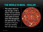 the world is maya realize
