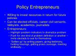 policy entrepreneurs