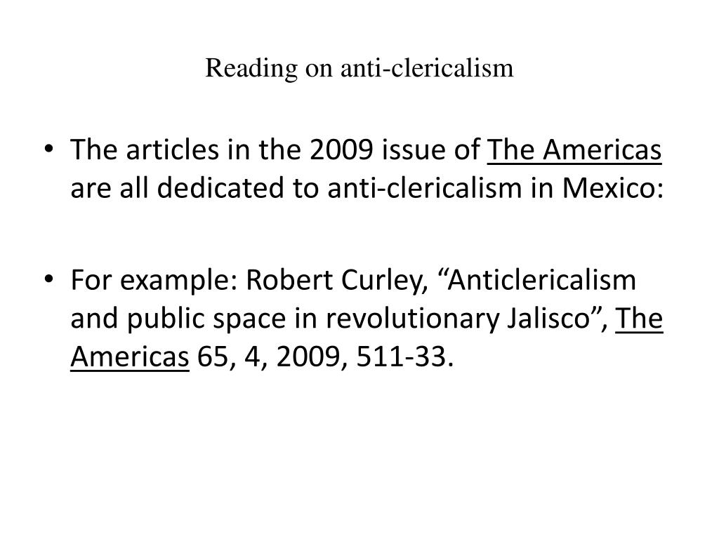 Reading on anti-clericalism
