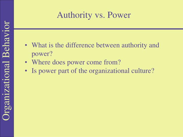 difference between authority and power Authority is the legal ability and authorization to exercise power for enforcement power is the actual wielding of the authority.