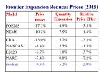 frontier expansion reduces prices 2015