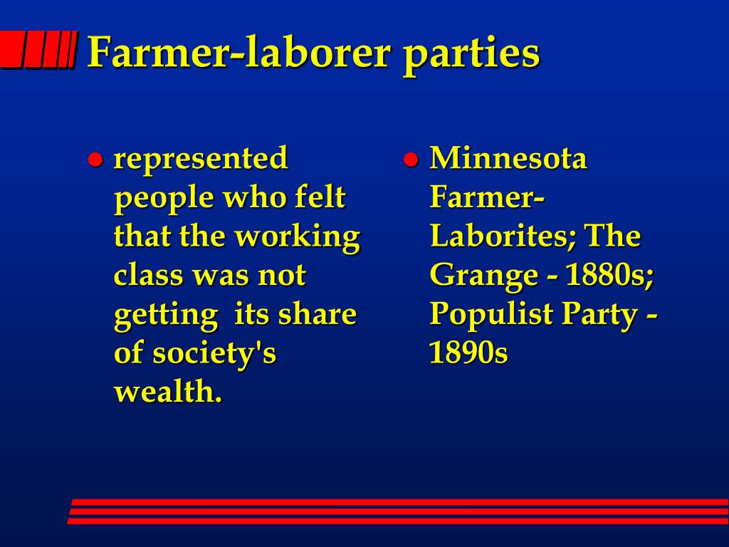 represented  people who felt that the working class was not getting  its share of society's wealth.