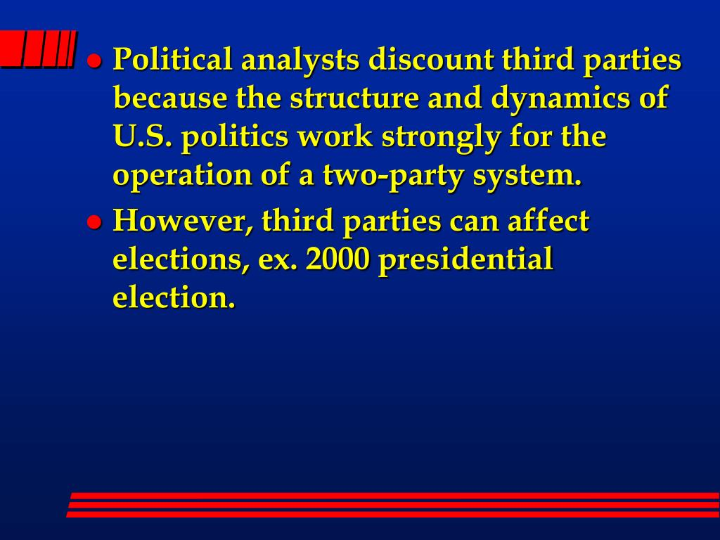 Political analysts discount third parties because the structure and dynamics of U.S. politics work strongly for the operation of a two-party system.
