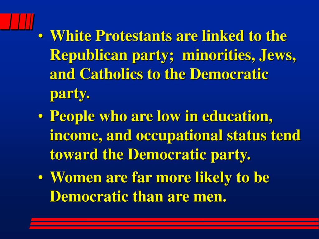White Protestants are linked to the Republican party;  minorities, Jews, and Catholics to the Democratic party.