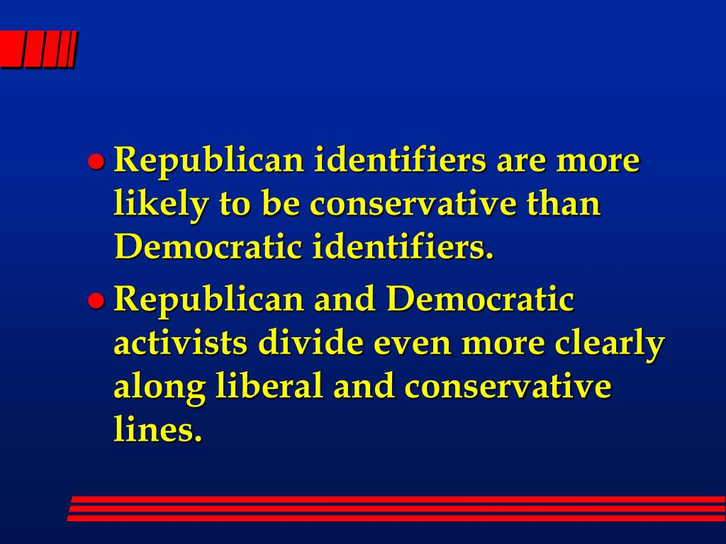Republican identifiers are more likely to be conservative than Democratic identifiers.