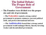 the initial debate the proper role of government