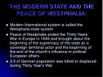 the modern state and the peace of westphalia