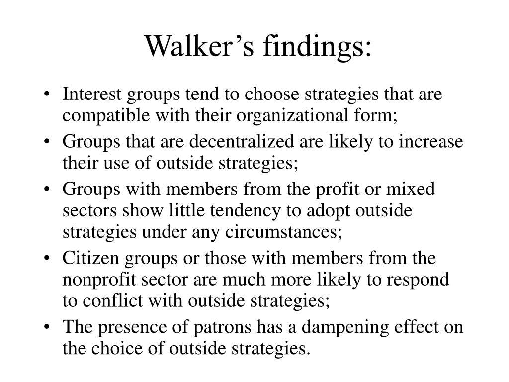 Walker's findings: