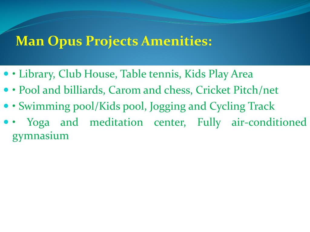 Man Opus Projects Amenities:
