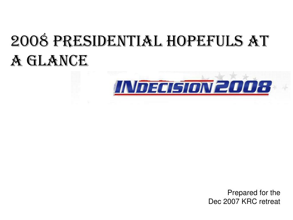 2008 PRESIDENTIAL HOPEFULS AT A GLANCE