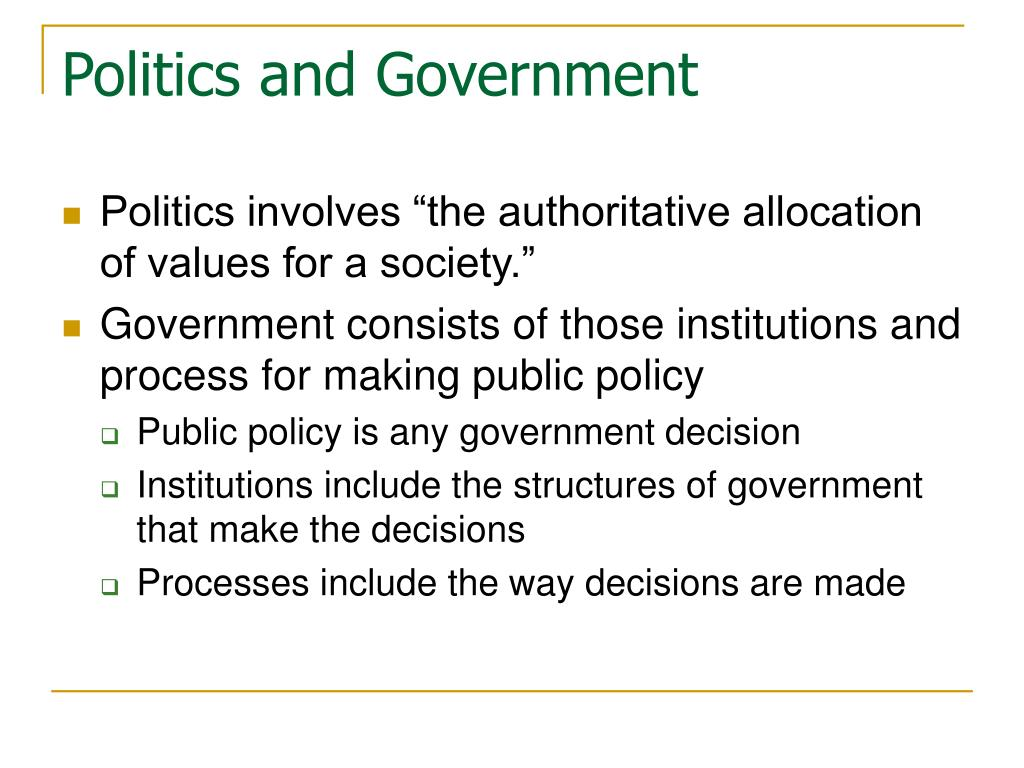 government decisions made : the group of people who control and make decisions for a country, state, etc: a particular system used for controlling a country, state, etc: the process or manner of controlling a country, state, etc.