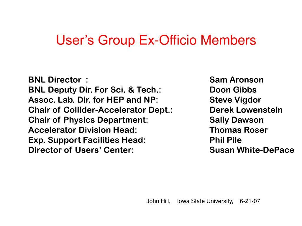User's Group Ex-Officio Members