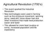 agricultural revolution 1700 s