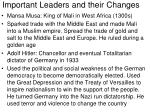 important leaders and their changes