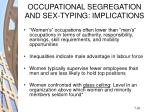 occupational segregation and sex typing implications