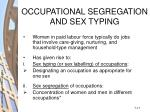 occupational segregation and sex typing