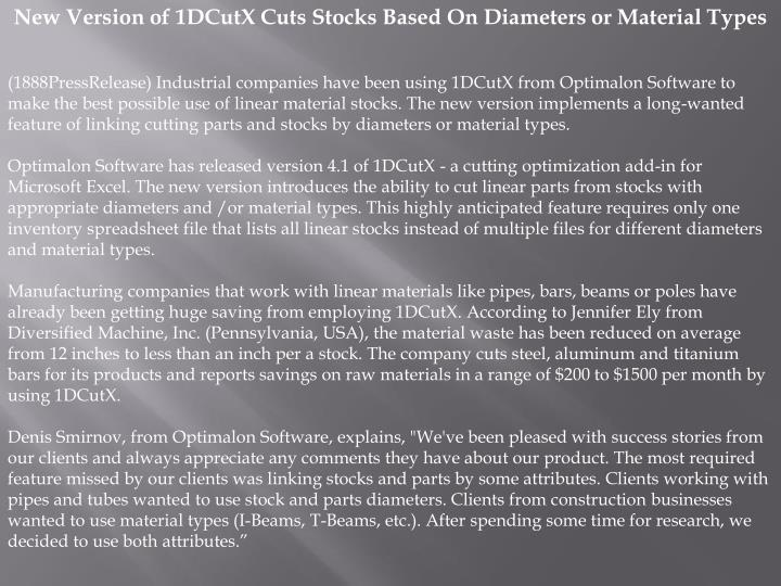 New Version of 1DCutX Cuts Stocks Based On Diameters or Material Types