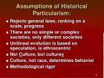 assumptions of historical particularism