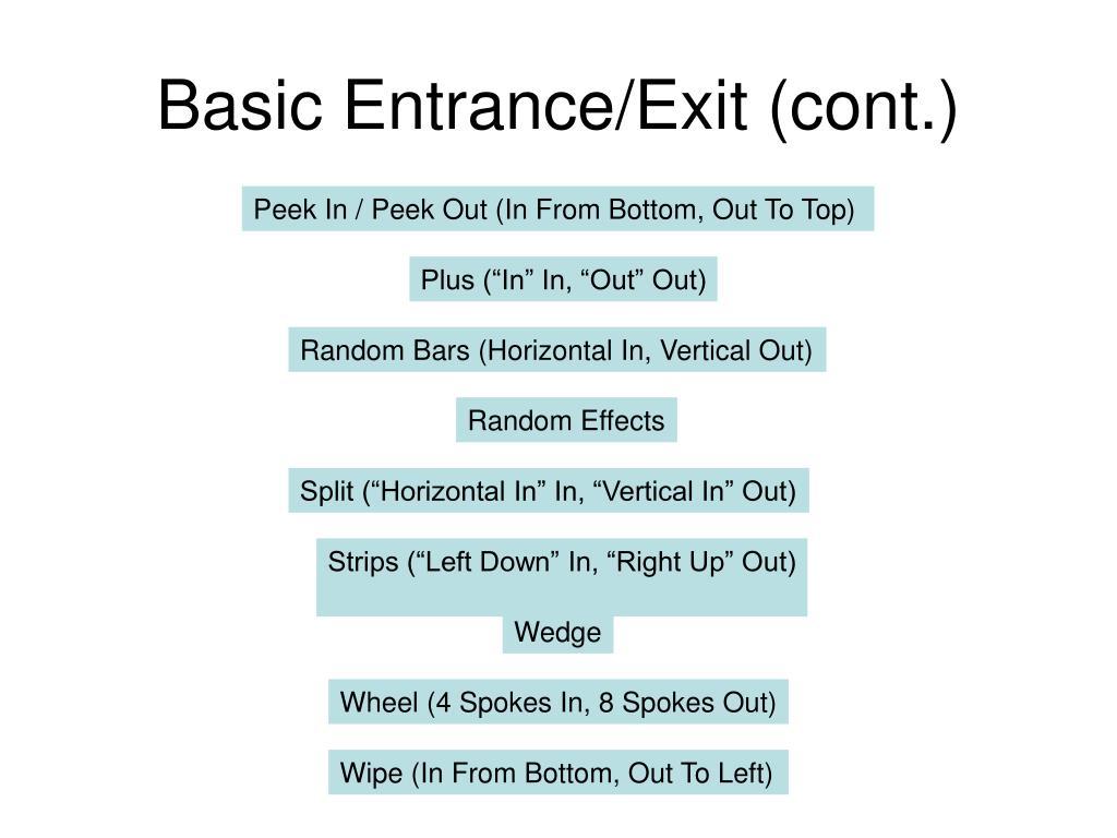 Basic Entrance/Exit (cont.)