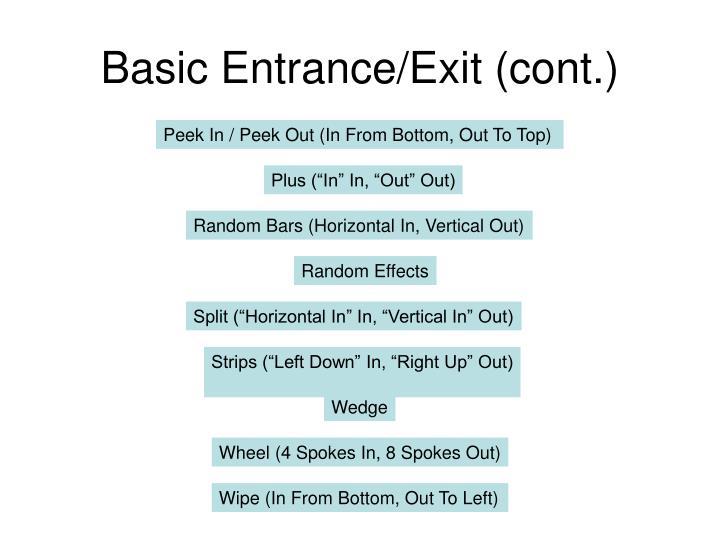 Basic entrance exit cont