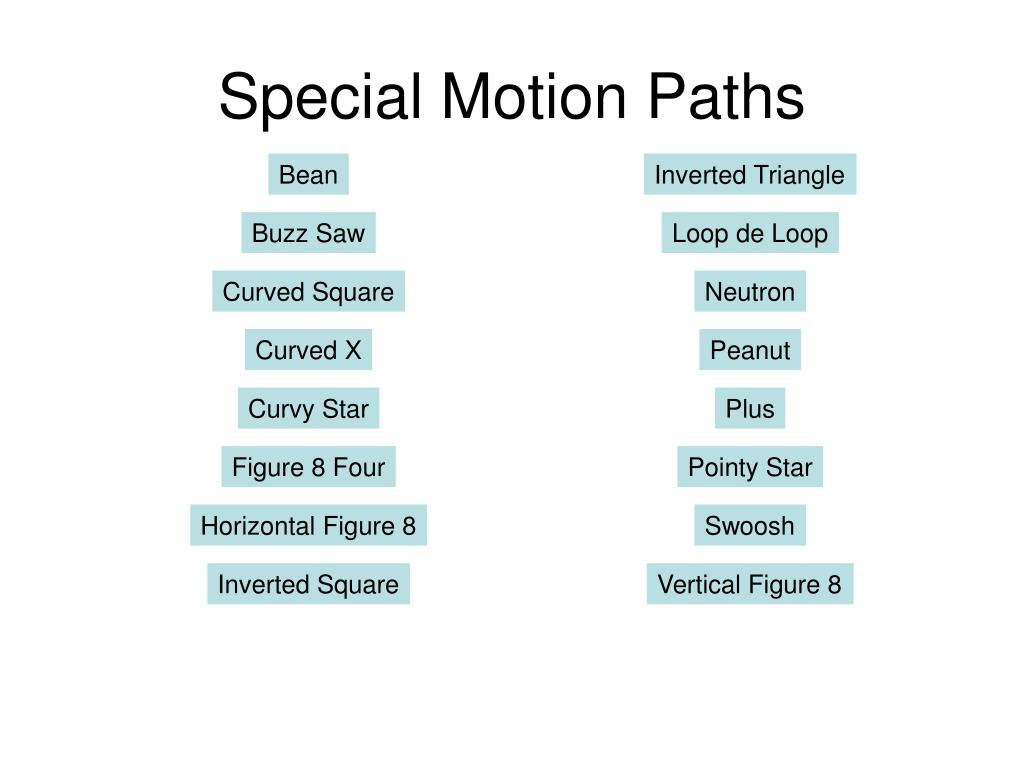 Special Motion Paths