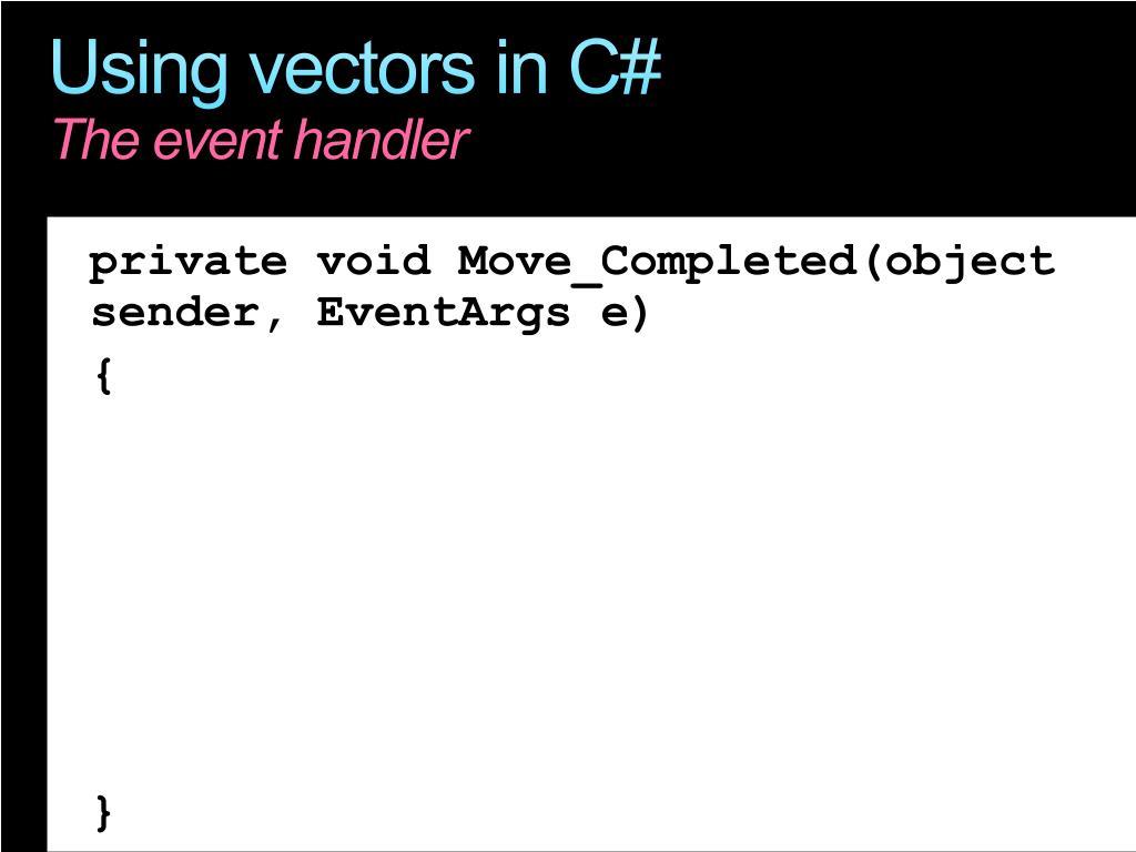 Using vectors in C#