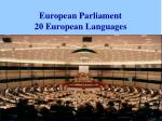 european parliament 20 european languages