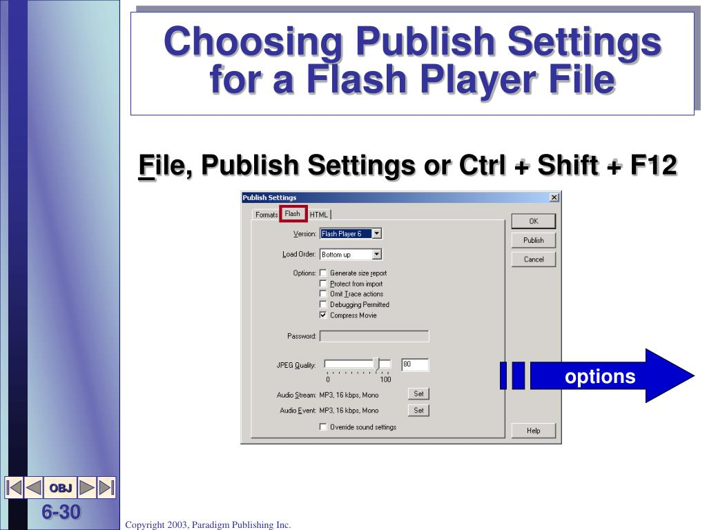 Choosing Publish Settings for a Flash Player File