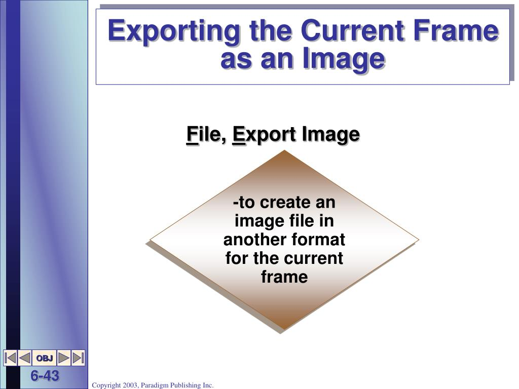 Exporting the Current Frame as an Image