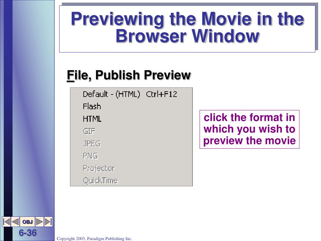 Previewing the Movie in the Browser Window
