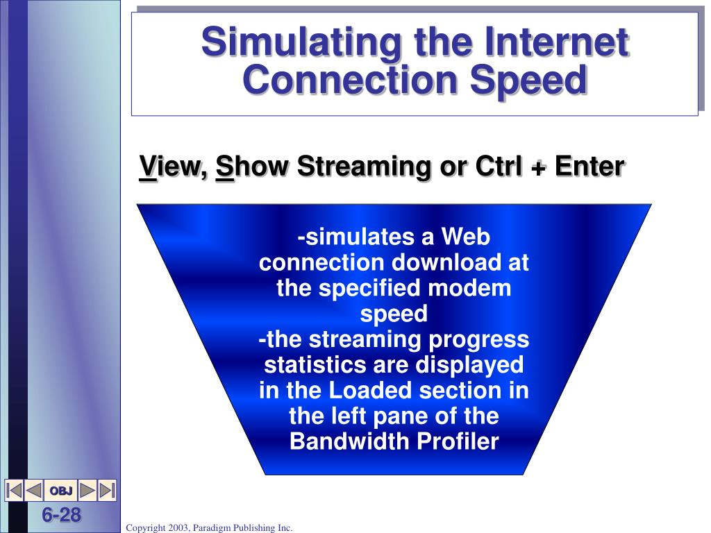 Simulating the Internet Connection Speed