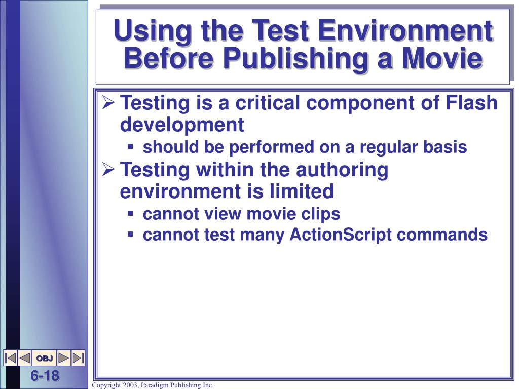 Using the Test Environment Before Publishing a Movie