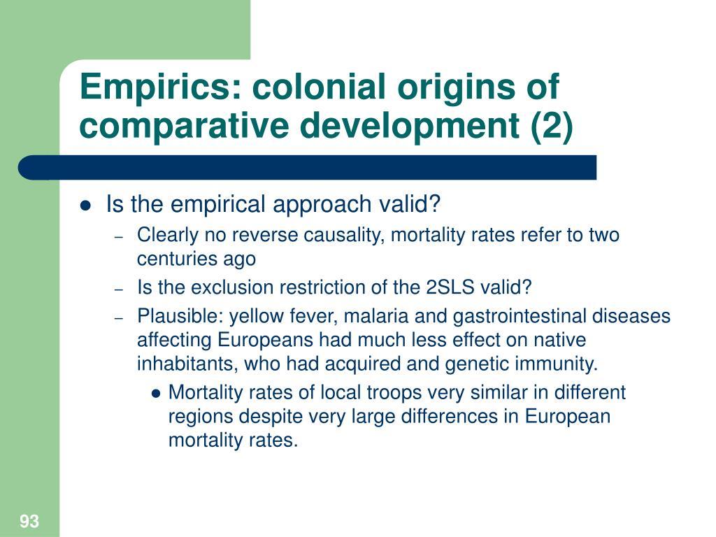 Empirics: colonial origins of comparative development (2)