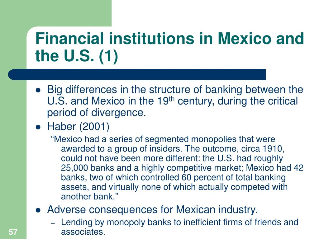 Financial institutions in Mexico and the U.S. (1)