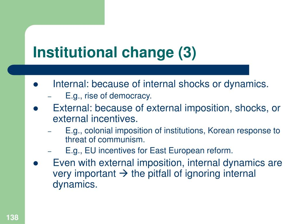 Institutional change (3)