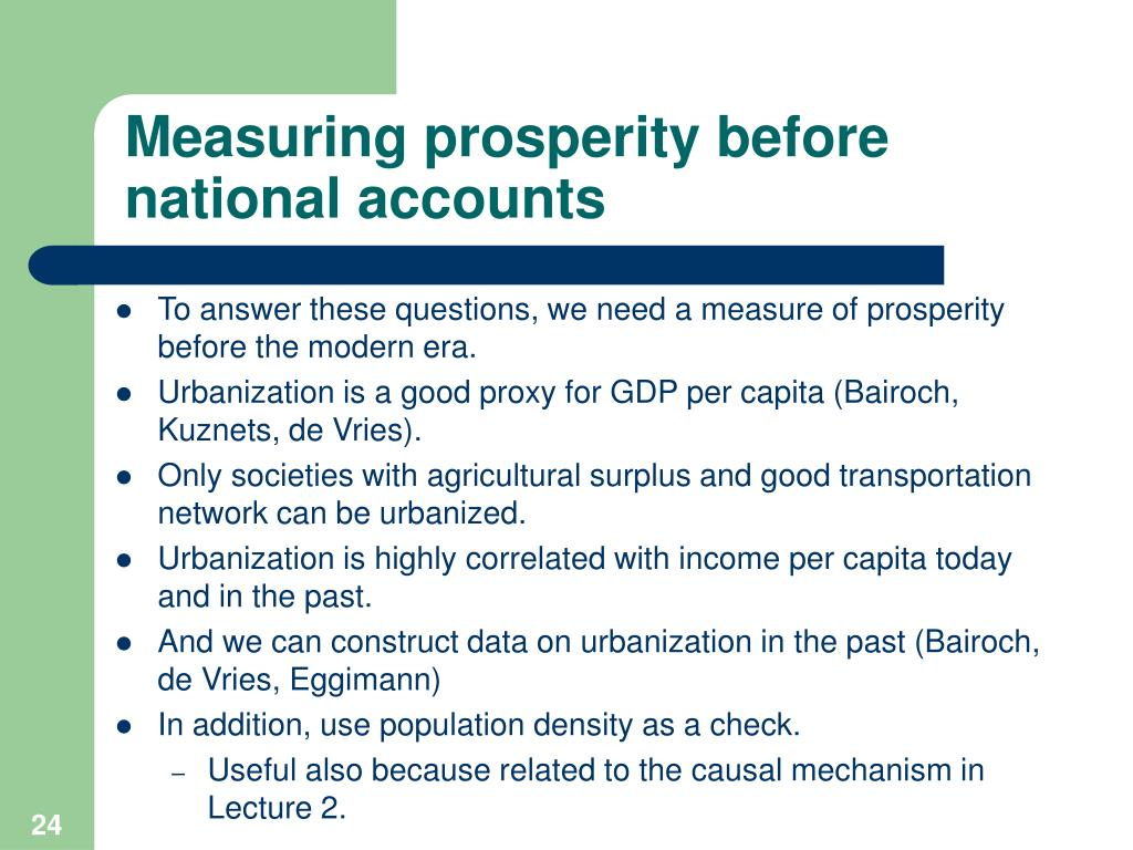 Measuring prosperity before national accounts